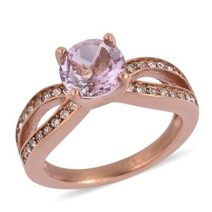 Rose De France Amethyst, White Austrian Crystal ION Plated RG Stainless Steel Split Ring (Size 8.0) TGW 1.32 cts.