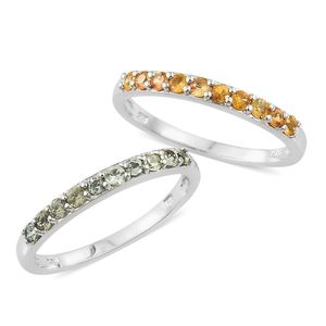 Green and Yellow Sapphire Platinum Over Sterling Silver Set of 2 Half Band Ring (Size 8) TGW 1.18 cts.