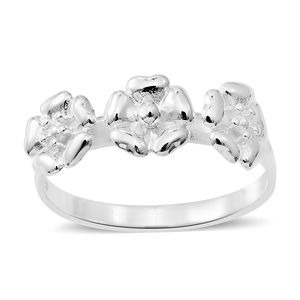 Sterling Silver Floral Trilogy Ring (Size 7.0)
