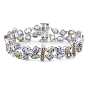 Multi Gemstone Sterling Silver Double Row Geometric Bracelet (6.50 In) TGW 12.95 cts.