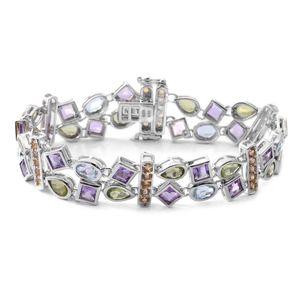 Multi Gemstone Sterling Silver Double Row Station Bracelet (7.50 In) TGW 14.48 cts.
