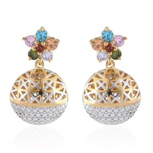 KARIS Collection - Simulated Multi Gemstone ION Plated 18K YG and Platinum Bond Brass Floral Sphere Openwork Drop Earrings Total Gem Stone Weight 2.15 Carat