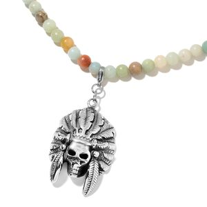 Multi Color Amazonite Black Oxidized Stainless Steel Pendant With Necklace (22 in) TGW 163.00 cts.