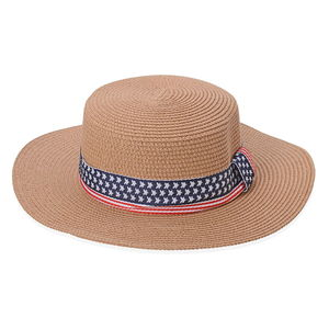 Brown 100% Straw USA Flag Panama Hat (21.66 in)