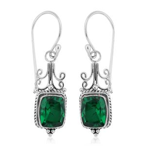 Bali Legacy Collection Emerald Quartz Sterling Silver Earrings TGW 4.59 cts.