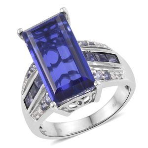 Playa Quartz, Multi Gemstone Platinum Over Sterling Silver Ring (Size 6.0) TGW 14.36 cts.