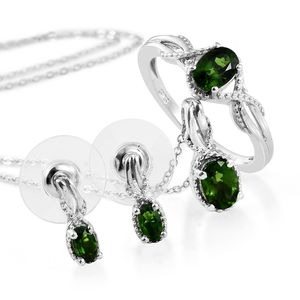 Russian Diopside Platinum Over Sterling Silver Earrings, Ring (Size 5) and Pendant With Chain (20 in) TGW 2.15 cts.