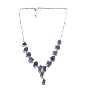 TLV Artisan Crafted Rough Cut Tanzanite Sterling Silver Magic Ball Drop Necklace (20 in) TGW 65.35 cts.