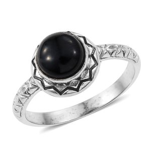 Burmese Black Jade Sterling Silver Solitaire Ring (Size 7.0) TGW 1.89 cts.
