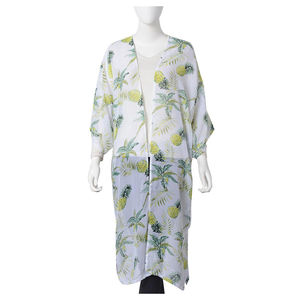 White 100% Polyester Sheer Tropical Theme Pineapple Pattern Kimono (One Size)