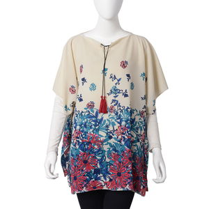 White with Multi Color Flower Pattern 100% Polyester Poncho with 2 Tassels in Collar (27.56x35.44 in)