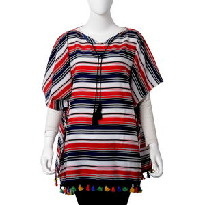 Multi Color Strip Pattern 100% Polyester Poncho with Bottom Pom Pom & 2 Tassels in the Collar (28.74x33.47 in)