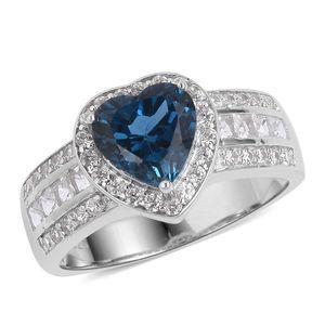 London Blue Topaz, Multi Gemstone Sterling Silver Heart Ring (Size 8.0) TGW 3.65 cts.