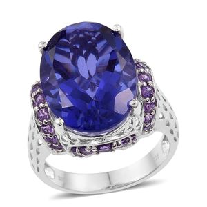 Playa Quartz, Amethyst Platinum Over Sterling Silver Cocktail Ring (Size 8.0) TGW 21.16 cts.