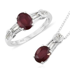 Niassa Ruby, White Topaz Platinum Over Sterling Silver Solitaire Ring (Size 9) and Pendant With Chain (20 in) TGW 4.00 cts.