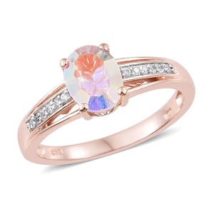 Mercury Mystic Topaz, Cambodian Zircon Vermeil RG Over Sterling Silver Ring (Size 7.0) TGW 2.29 cts.