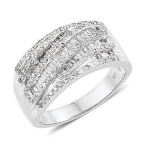 Diamond Sterling Silver Ring (Size 7.0) TDiaWt 1.00 cts, TGW 1.00 cts.