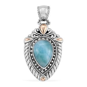 Bali Legacy Collection 18K YG Larimar Sterling Silver Pendant without Chain TGW 7.22 cts.