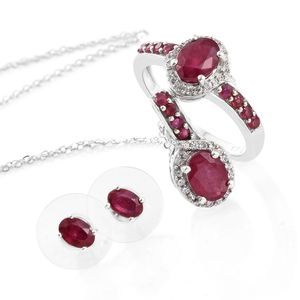 Niassa Ruby, Cambodian Zircon Platinum Over Sterling Silver Earrings, Ring (Size 6) and Pendant With Chain (20 in) TGW 5.81 cts.