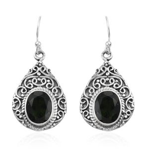 Artisan Crafted Bohemian Moldavite Sterling Silver Earrings TGW 4.46 cts.