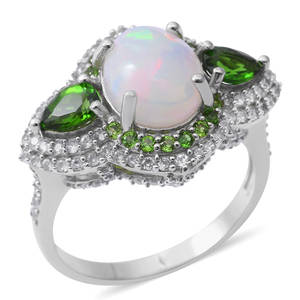 Ethiopian Welo Opal, Multi Gemstone Sterling Silver Ring (Size 7.0) TGW 6.84 cts.