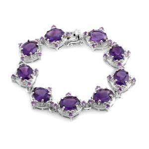 Amethyst Sterling Silver Bracelet (6.50 In) TGW 23.58 cts.