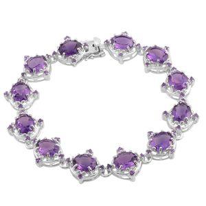 Amethyst Sterling Silver Bracelet (8.00 In) TGW 31.44 cts.