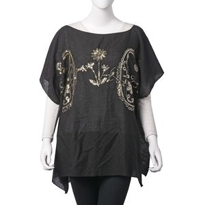 Black 100% Polyester Golden Paisley and Daisy Sequin Poncho (One Size)