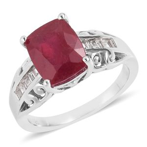 Niassa Ruby, White Topaz Platinum Over Sterling Silver Ring (Size 7.0) TGW 4.92 cts.