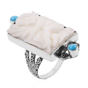 Bali Goddess Collection Carved Bone, Arizona Sleeping Beauty Turquoise Sterling Silver Ring (Size 7.0) TGW 0.59 cts.