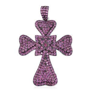Orissa Rhodolite Garnet Sterling Silver Cross Pendant without Chain TGW 3.10 cts.