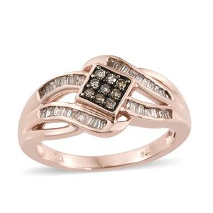 Natural Champagne Diamond Vermeil RG Over Sterling Silver Ring (Size 10.0) TDiaWt 0.50 cts, TGW 0.50 cts.