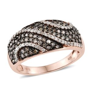 Natural Champagne Diamond, Diamond Black Rhodium & Vermeil RG Over Sterling Silver Ring (Size 9.0) TDiaWt 1.00 cts, TGW 1.00 cts.