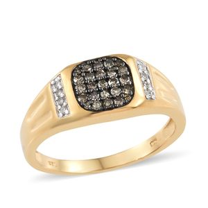 Natural Champagne Diamond, Diamond Black Rhodium & Vermeil YG Over Sterling Silver Men's Ring (Size 14.0) TDiaWt 0.51 cts, TGW 0.51 cts.