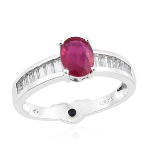 GP Niassa Ruby, Multi Gemstone Platinum Over Sterling Silver Ring (Size 7.0) TGW 2.91 cts.