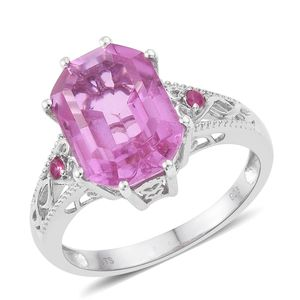 African Lilac Quartz, Ruby Platinum Over Sterling Silver Ring (Size 7.0) TGW 8.81 cts.