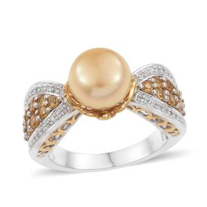 South Sea Pearl (11.5-12 mm), Multi Gemstone 14K YG and Platinum Over Sterling Silver Royal Ring (Size 7.0) TGW 1.05 cts.