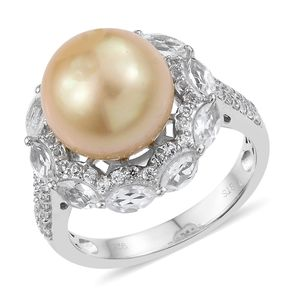 South Sea Pearl (12-12.5 mm), White Topaz Platinum Over Sterling Silver Ring (Size 7.0) TGW 2.30 cts.