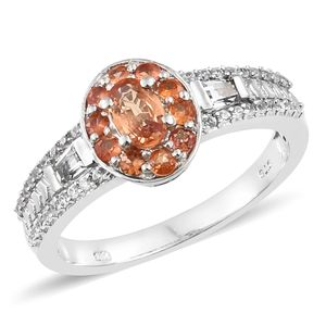 Orange Sapphire, Multi Gemstone Platinum Over Sterling Silver Ring (Size 8.0) TGW 1.50 cts.