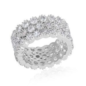 Simulated White Diamond Silvertone Eternity Band Ring (Size 7.0) TGW 10.00 cts.