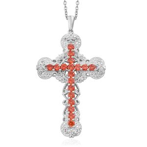 KARIS Collection - Simulated Orange Diamond Platinum Bond Brass Cross Pendant With Stainless Steel Chain (20 in) TGW 3.60 cts.