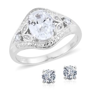 KARIS Collection - Simulated Diamond Platinum Bond Brass Stud Earrings and Ring (Size 7) TGW 5.29 cts.