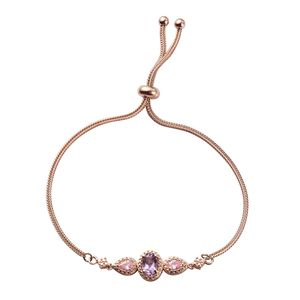 KARIS Collection - Rose De France Amethyst, Simulated Pink Sapphire 14K RG Over Brass Bolo Bracelet (Adjustable) TGW 1.35 cts.