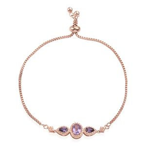 KARIS Collection - Rose De France Amethyst, Simulated Purple Diamond 14K RG Over Brass Bolo Bracelet (Adjustable) TGW 1.32 cts.