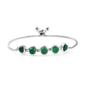 Green Chalcedony Platinum Bond Brass Bolo Bracelet (Adjustable) TGW 4.75 cts.
