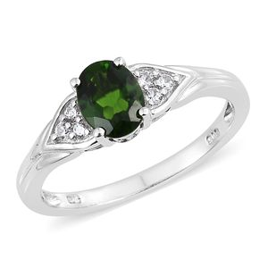 Russian Diopside, Cambodian Zircon Platinum Over Sterling Silver Ring (Size 10.0) TGW 1.58 cts.