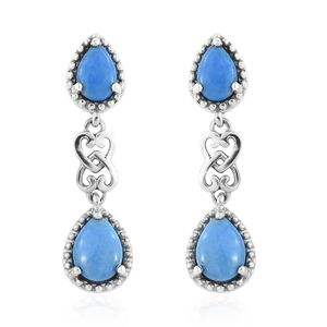 Ceruleite Platinum Over Sterling Silver Drop Earrings TGW 1.80 cts.
