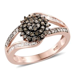 Natural Champagne Diamond, Diamond Black Rhodium & Vermeil RG Over Sterling Silver Ring (Size 10.0) TDiaWt 0.76 cts, TGW 0.76 cts.