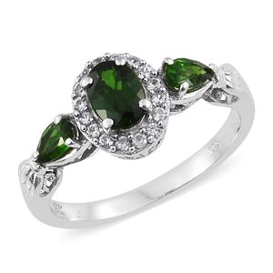 Russian Diopside, Cambodian Zircon Platinum Over Sterling Silver Ring (Size 5.0) TGW 1.57 cts.