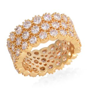Simulated White Diamond Goldtone Eternity Band Ring (Size 9.0) TGW 10.00 cts.